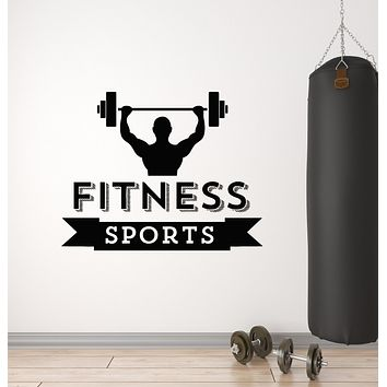 Vinyl Wall Decal Gym Fitness Club Iron Sport Healthy Lifestyle Stickers Mural (g1629)