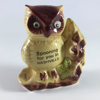 Vintage Owl Nashville Tennessee Souvenir Ceramic Spoon Ring Holder  Retro  Spooning For You 1960 1970 Kitsch Mid Century Kitchen Decor