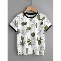 Cactus And Marble Print Ringer Tee MULTICOLOR