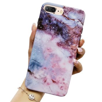 iPhone 8 Plus Case, iPhone 7 Plus Case, Jwest Marble Design Bumper Slim TPU Soft Rubber Silicone Cover Anti-Scratch Thin Back Protective Phone Case for Apple iPhone 7 Plus / 8 Plus Pink