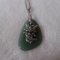 Moon Fairy green nature stone pendant  necklace