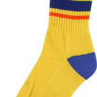 Bro Style Big Stripe Crew Socks-Yel 1 Pair