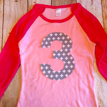 Pink girl's Birthday outfit ANY NUMBER on sports baseball pink and hot fuchsia Raglan Birthday tShirt boys Birthday Shirt kids 1 2 3 4 5 6