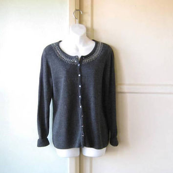 Dark Grey Classic Beaded Grey Cardigan Sweater; Women's Medium w/ Silver Stud Embellishment; Long Sleeves; U.S. Shipping Included
