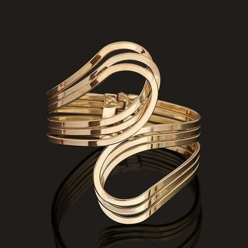 Gold Silver Punk Hip Hop Bangles Upper Arm Bracelet Costume Statement Jewelry Fashion Accessories
