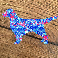 Lilly Pulitzer Golden Retriever Decal For Yeti Tumblers, Cars, and Tech Devices