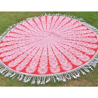 Handmade Round Mandala Tapestry Cotton Beach Throw