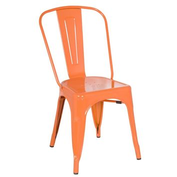 Tolix Style Chair, Orange