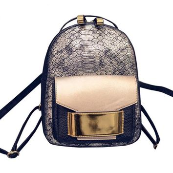 Faux Leather Rucksack Serpentine Lady Vintage Backpack