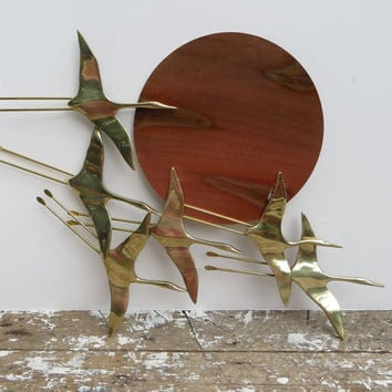 Mid Century Brass Geese and Copper Wall Decor Unique Modern Art