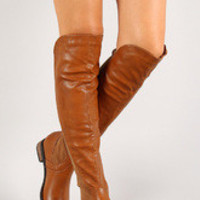 Women's Solid Leatherette Round Toe Thigh High Boot