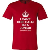 I Can't Keep Calm I'm A Junior Class Of 2015 Printed T Shirt Great Boys Girls Graphic Tee Pick Your School Colors