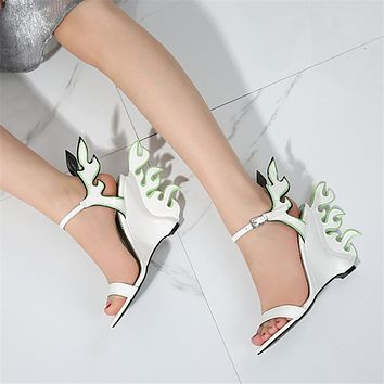 Womens Fire Flame Design Wedge Sandals