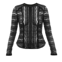 Veronica Beard Wave Lace Fitted LS Top
