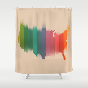 USA map - the colorful stripes Shower Curtain by Budi Satria Kwan