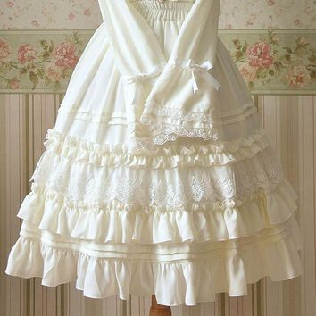 Women White Black Lolita Knee Length Skirts Chiffon Lace Ruffles Sweet Empire Tiered High Quality Princess Skirts Elastic waist
