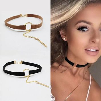 New Simple copper Small Circle Velvet Chokers Necklace Bohemia Collar Rope Chain Necklaces & Pendants gargantilha choker couro