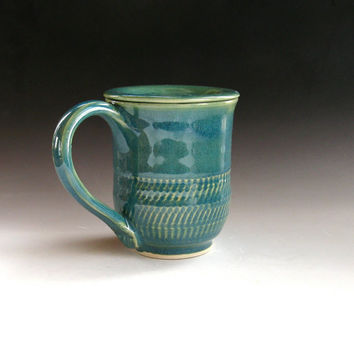 Lidded Coffee Mug, Tea Mug with Cover in Green - handthrown pottery