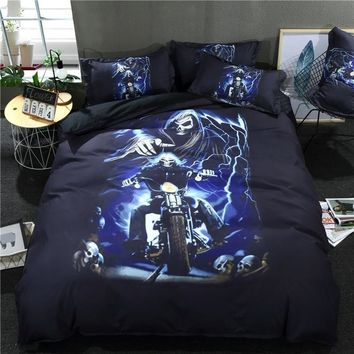 Cool 3D Skull Duvet Cover Set With Pillowcase Burning Flame motorcycle new fashion blue black Bedding Set Queen King Bed Linen 3/4pcsAT_93_12