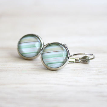 Striped // pastel cabochon earrings silver, rosy, mint - 14 mm - summer earrings for girls, women