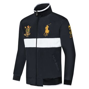 Polo Ralph Lauren 2018 autumn and winter new stand collar men's thin section windproof jacket black