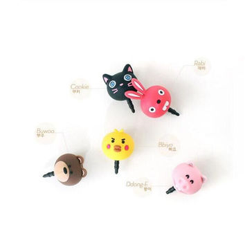 10PCS Cartoon Cute Animal Dust Plug Cat/Bear/Chick/Piggy/Rabbit earphone jack Stopper Cap headphones For iphone 6 Samsung Xiaomi