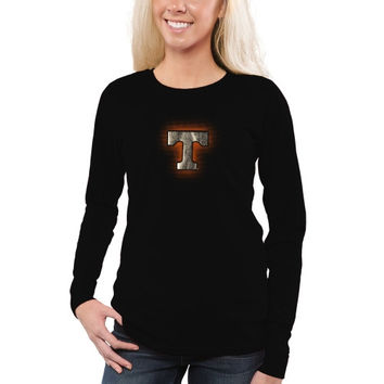 Tennessee Volunteers Women's Chrome Fusion Fitted Long Sleeve T-Shirt – Black