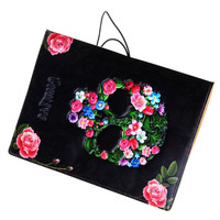 3D Floral Skull Printed Passport Holde Ethnic Colorful Leather Passport Cover Travel Document Holder For Women