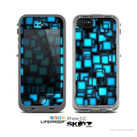 The Neon Blue Abstract Cubes Skin for the Apple iPhone 5c LifeProof Case