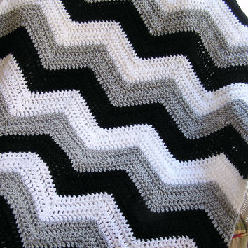 new chevron zig zag baby blanket afghan wrap crochet knit lap robe wheelchair ripple stripes LION VANNA yarn black grey white handmade USA