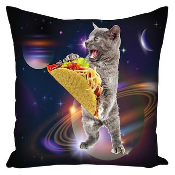 Taco Cat In Space Deluxe Throw Pillow With Insert 18 X 18 Inch