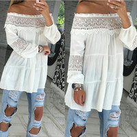 Long Sleeved Lace Stitching Shirt