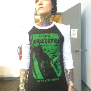 "Goosebumps ""stay out of the basement"" baseball Tee"
