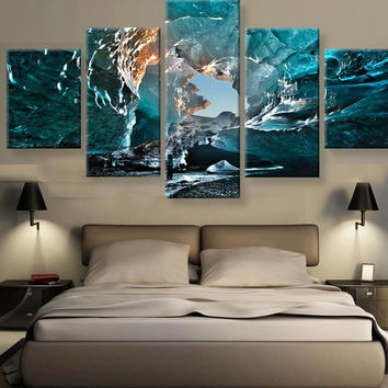 5 Panels Canvas Painting Wall Art Ice Cave Landscape Wall Pictures For Living Room Decorative Pictures Printed  Unframed