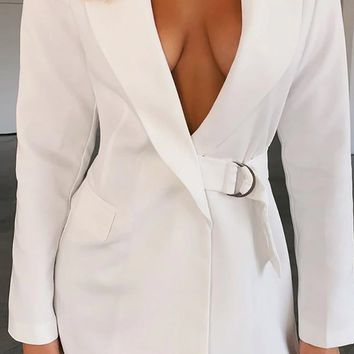Don't Ask Me White Long Sleeve V Neck Lapel Buckle Waist Blazer Mini Dress