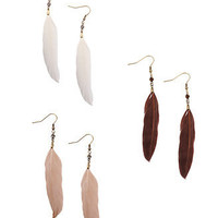 Soft Feather Earrings - Forever21