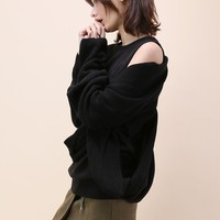 Beyond Imagination Twist and Wrap Sweater in Black