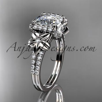 14kt white gold diamond floral wedding ring, engagement ring with cushion cut moissanite ADLR148
