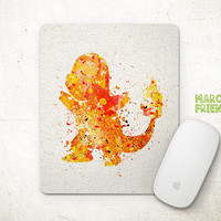 Pocket Monster Mouse Pad, Charmander Watercolor Art, Mousepad, Office Deco, Holiday Gift, Art Print, Desk Decor, Pokemon Accessories