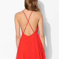 Orange Cross Strappy Back A-Line Mini Skater Dress