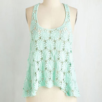 ModCloth Boho Short Length Racerback Breeze on Over Top in Seafoam