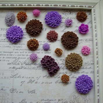 20 Purple And Brown Flower Magnets, Flower Magnets, Decorative Magnets, Floral, Kitchen Fridge Magnets, Home Office, Magnet Board