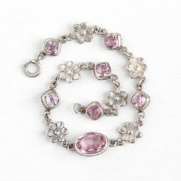 Vintage Sterling Silver Flower Panel Light Pink Glass Stone Bracelet - Antique 1920s Art Deco Open Back Simulated Morganite Floral Jewelry