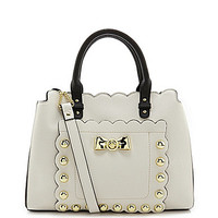 Betsey Johnson Studded Affair Convertible Satchel - Cream
