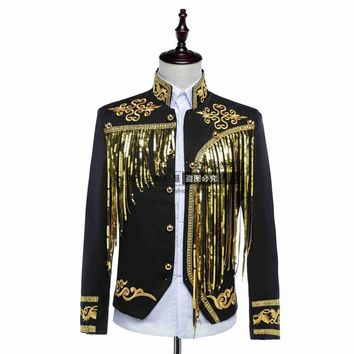 male jacket blazer outfit  singer sequined gold silver host clothing nightclub stage activities star singer dancer coat