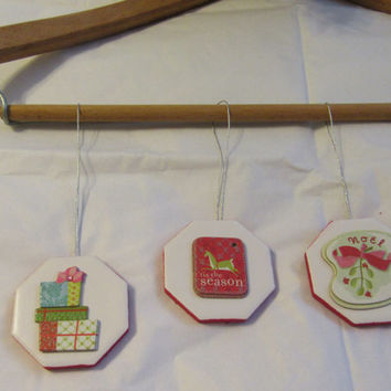 Ceramic Tile Christmas Ornaments - Set of 5 - Antique Images on 8-Sided White Ceramic Tiles