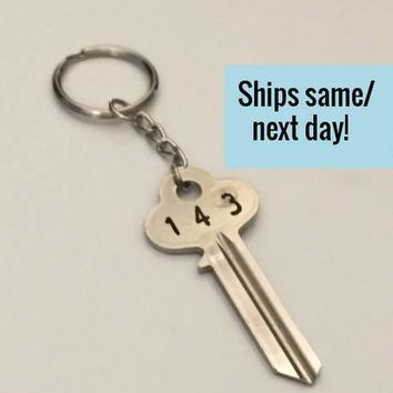 Key Keychain, Engraved Key Keychain, Long Distance Friendship, Long Distance Relationship, Engraved Key, Christmas Gift, Stocking Stuffer