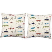 Set of 2 Fisherman Pillow - Fish Print Pillow Covers with or without Cushion Inserts - Fishing Gear Print, Fish Print, Fly Fishing, Fishhook