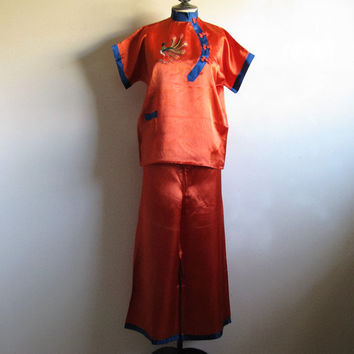Orange Satin Japanese Pajamas Vintage 80s 2 pc Pajama Orange Embridery Peacock Rayon 80s Lounge Sleep Night Wear Medium