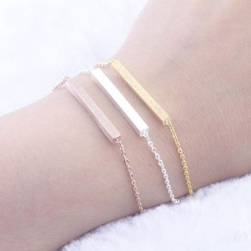 Rose Gold Color Charm Thin Bar Bracelets For Women Bff Jewelry Stainless Steel Hand Chain Bijoux Best Friend Gift Pulseira Mujer